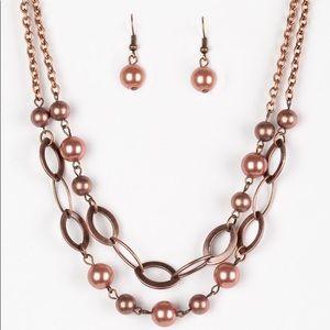 Copper Pearl Necklace Set with Bracelet